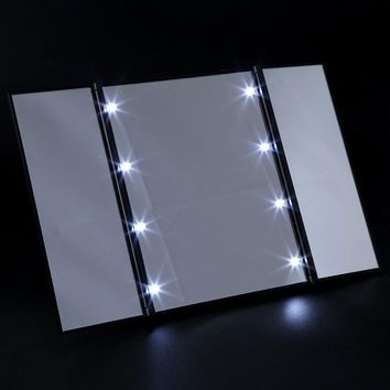 3 Folding Portable Touch Screen New Design 8 LEDs Lighted Makeup Mirror Make-up Adjustable Tabletop Countertop Makeup Tool
