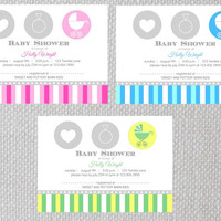Printable Baby Shower Invitation, Baby Boy, Baby Girl, Gender Neutral, Baby Carriage