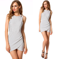 Stripe Cutout Sleeveless Asymmetrical Dress