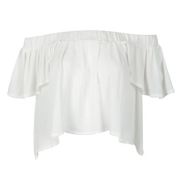 White Off Shoulder Cap Sleeve Ruffle Crop Top