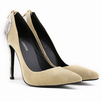 Classic Pointed  High Heels Patchwork Shallow Shoes