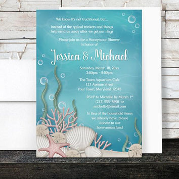 Under the Sea Honeymoon Shower Invitations - Whimsical Underwater design - Aquarium - Aqua Blue and Beige Sand - Printed Invitations