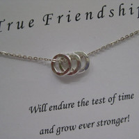Best Friend Necklace. Friendship Jewelry. 3 BEST FRIENDS Necklace - Inspirational Jewelry