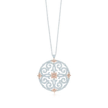 Tiffany & Co. - Tiffany Enchant® scroll pendant in platinum and rose gold with diamonds, large.