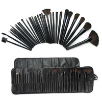 24Pcs Cool Black Profession Makeup Brushes Set