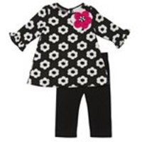 Rare Editions Floral Babydoll Top & Leggings Set - Toddler