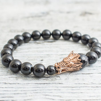 Black onyx beaded rose gold dragon head stretchy bracelet, made to order yoga bracelet, mens bracelet, womens bracelet