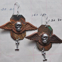Steampunk Earrings with Silver Skulls and Bone Charms