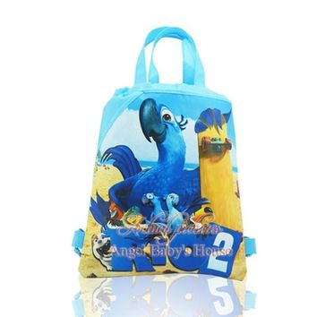 perfect,4Pcs Rio2 Children Cartoon Drawstring Backpack Kids School Bags,Totes,34*27cm,Non Woven Fabric,Party Favors