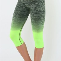 Yoga Legging Cropped - Black/Green - FINAL SALE NO EXCHANGES NO RETURNS
