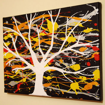 Original painting on canvas acrylic abstract tree of life impasto landscape paintings wall art yellow red blue Modern oil very colorful