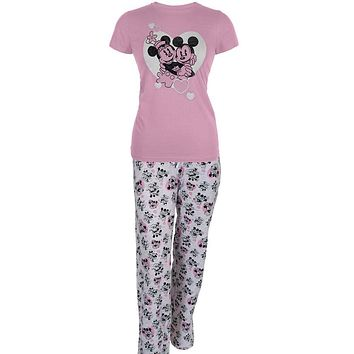 Mickey Mouse - With Minnie Hearts Juniors Two Piece Pajama Set