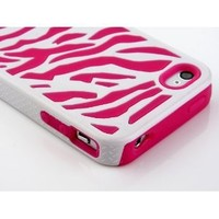 Pandamimi Zebra Combo Hard Soft High Impact Armor Skin Gel Case with Free Screen Protector and Stylus for iPhone 4/4S/4G - Pink/White: Cell Phones & Accessories