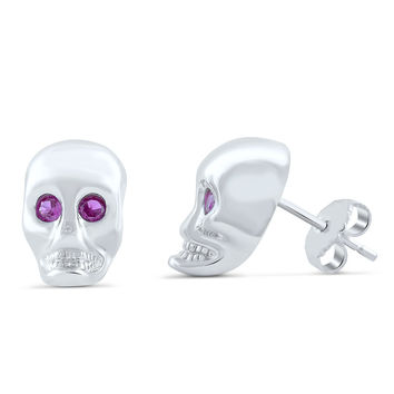 Sterling Silver Red Cz Skull Stud Earrings