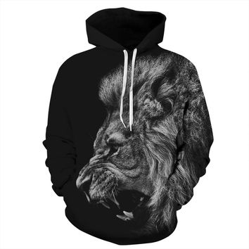 Hoodies Harajuku Style Women/men Sports 3D Lion head Printing Funny Cartoon Print Hoodies Pullovers Lovers Clothes