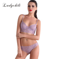 Women Luxury Ultra Thin Women Bra And Panty Set Sexy Temptation Lace Full Transparent Plus Size Underwear Push Up Bra Set N200