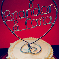 Personalized Custom Wire Heart Names Wedding Cake Topper