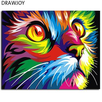 ESBONHS Abstract Framed Oil Paint DIY Painting By Numbers Coloring By Numbers Colorful Animals Home Decoration 40*50cm GX4228