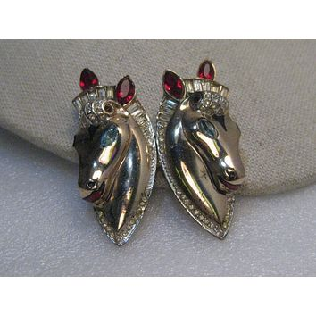 Vintage Coro Craft Horse Duette - brooch/fur clips, rhinestones, Estate