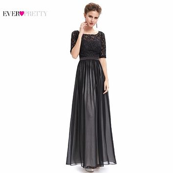 Evening Dresses HE09991 Ever Pretty 2016 New Arrival Gorgeous Special Occasion Half Sleeve Black Lace  Maxi Backless Party Dress