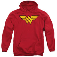 DC/WONDER WOMAN LOGO DIST-ADULT PULL-OVER HOODIE-RED