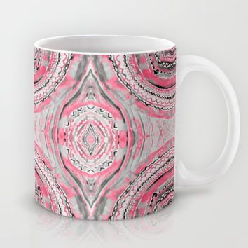 Pink Complexities - a Watercolor Tribal Pattern Mug by TigaTiga Artworks