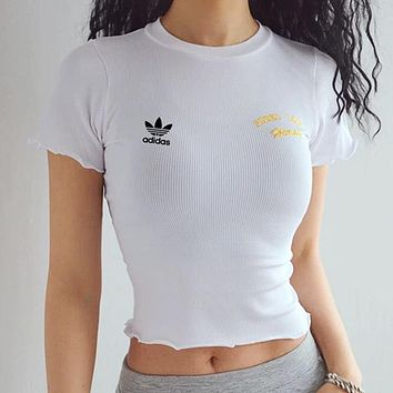 ADIDAS new women's tight-fitting half-sleeved umbilical yoga fitness t-shirt white