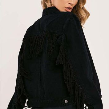 GEANNA BLACK FRAYED BACK TASSLE DETAIL DENIM JACKET