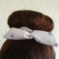 """Anchor Wire Bun Wrap, Top Knot Wire Wrap Blue Anchors on Creme """"Mini"""" Dolly Bow Wire Headband Ponytail Hair tie Hair Bun Tie Wrap"""