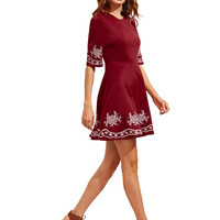 Burgundy Half Sleeve Embroidered Flare Dress