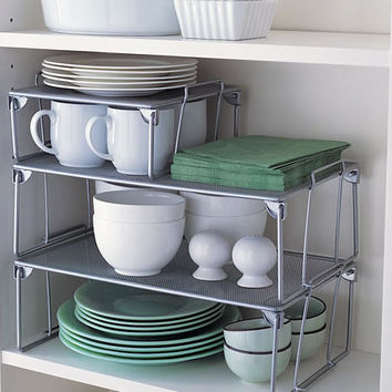Small Mesh Stacking Shelf - Mesh Stacking Shelf | Metal Storage Box | Mesh Storage Basket on Wheels