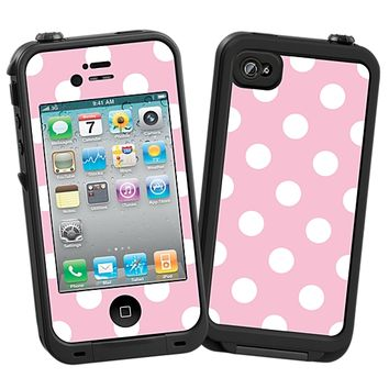 White Polka Dot on Baby Pink Skin  for the iPhone 4/4S Lifeproof Case by skinzy.com