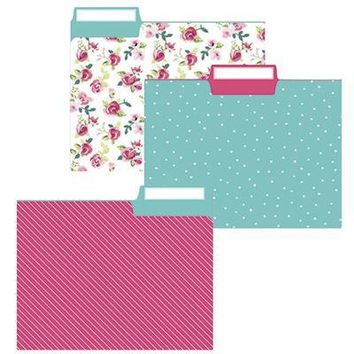 Pretty Floral File Folder Set in Vintage Flower, Pink, and Aqua