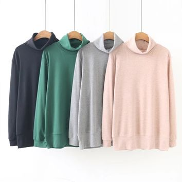 S81 Spring Plus Size Women Clothing T-shirts 4XL Casual Long Sleeve TurtleNeck Solid color Tops 1801