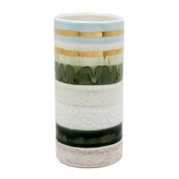 Multi Green Striped Cylinder Vase