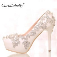 colored rhinestone Flower Platform High Heels or low heels rhinestone sexy women pumps  party Wedding Shoes Bride Shoes