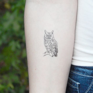 Owl Temporary Tattoo - Owl Tattoo - Illustration Tattoo - Owl Drawing