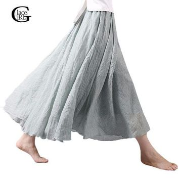 DK7G2 Lace Girl Fashion Women Linen Cotton Long Skirts Autumn Women Pleated Maxi Skirts Retro Ladies Slim Elastic Waist Casual Skirt