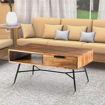 Wood and Metal Coffee Table with Spacious Storage, Brown and Black By The Urban Port
