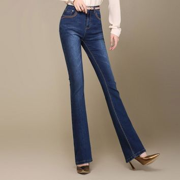 Autumn New High Quality Plus Size Women's Flares Boot Cut Jeans High Waist Fashion Ela