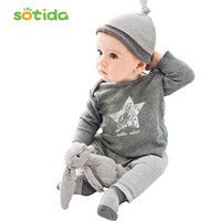 Clothing sets 2016 Spring and Autumn baby boys clothes casual 3pcs (Hat + T-shirt, pants) The stars leisure baby boys clothes