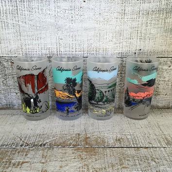 Tumbler Glasses 4 California Scene Frosted Glasses Drinking Glasses Mid Century Souvenir Libbey Frosted Glass Tumbler Barware Glassware