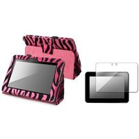 Insten® Hot Pink Zebra Standing Case with Pen Holder + FREE Reusable Screen Protector compatible with Amazon Kindle Fire HD 7-inch