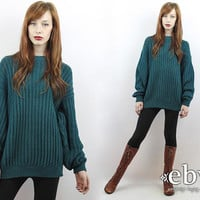 Vintage 90s Deep Green Oversized Sweater S M L Oversized Knit Oversized Jumper Green Sweater Teal Sweater Chunky Knit Green Pullover