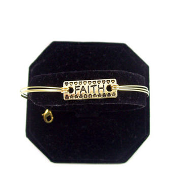 Faith Charm and Gold Memory Wire Bracelet Bangle Inspired