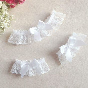 3Pcs/set Sexy Lace Floral Leg Garter Belt Arm Bracelet Wedding Bridal Cosplay Bowknot Thigh High Stocking Leg Ring for Women Macchar Cosplay Catalogue