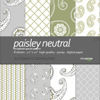 Digital paper pack of 8 Paisley neutral
