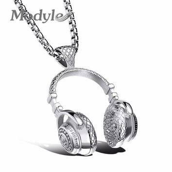 Modyle Fashion Design Men Jewelry Puck Style Box Link Chain 316L Steel Music Carnival Headphones Necklace for Men