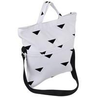 Black And White Triangles Fold Over Handle Tote Bag