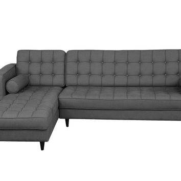 Romano Sectional Tufted Dark Grey Fabric Left